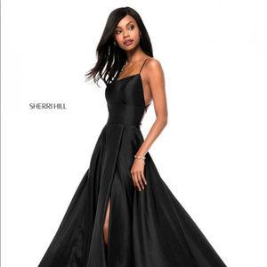 Sherri Hill 52022 Lace Up Black Prom Dress